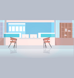 Hospital reception with furniture empty nurses vector