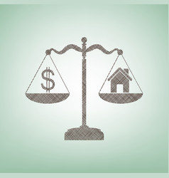 House and dollar symbol on scales brown vector