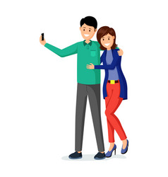 husband and wife taking selfie vector image