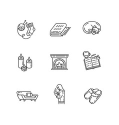 hygge home linear icons set vector image