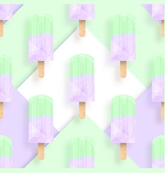 Ice cream popsicles pastel colors seamless pattern vector