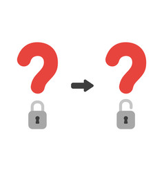 Icon concept of question mark with closed and vector