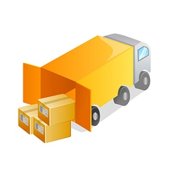 Icon truck and package vector