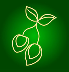 Icons of green mango holiday ugadi fine lines vector