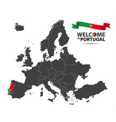 Map of europe with the state of portugal vector