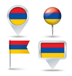 Map pins with flag of Armenia vector