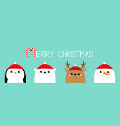 merry christmas white polar bear snowman raindeer vector image