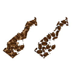 Monaco - map of coffee bean vector