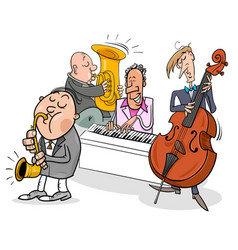 Musicians characters playing jazz music vector