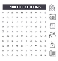 office editable line icons 100 set vector image