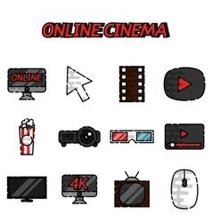 Online cinema flat icons set vector