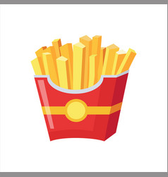 paper pack of french fries street fast food cafe vector image