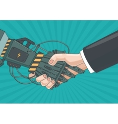 Partnership with a robot Business concept vector
