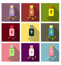 Pet drugs vitamins outline isolated on background vector