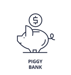 piggy bank line icon concept piggy bank vector image