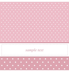 Pink and white polka dots card invitation vector