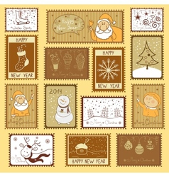 Postal stamps with Christmas vector image