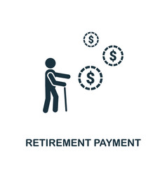 Retirement payment icon line style icon design vector