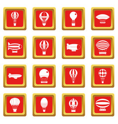 Retro balloons aircraft icons set red vector