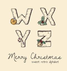 Retro christmas alphabet - w x y z vector