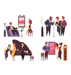 Rich people 2x2 isolated compositions vector