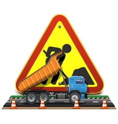 Road Construction Concept with Truck vector image