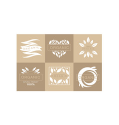 Set of 6 original monochrome emblems with leaves vector