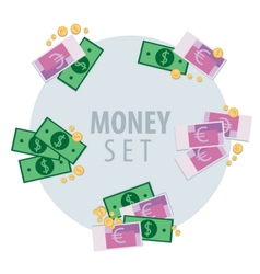 Set of bunches of money vector image
