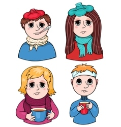 Set of sick children vector image