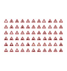 Set of triangular road signs isolated on white vector