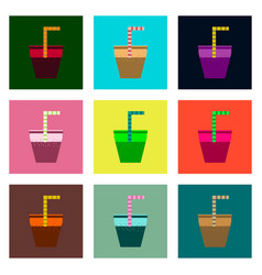 Set pixel icons of glass of soda with straw vector