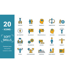 Soft skills icon set include creative elements vector
