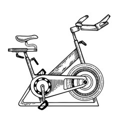 Sport equipment bike engraving vector
