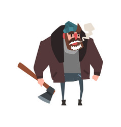 Strong man character with axe in hand lumberjack vector