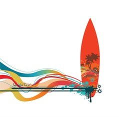 Summer background with surfboard vector