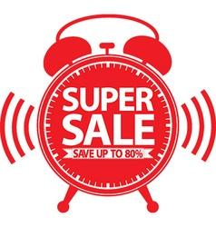 Super sale red alarm clock vector