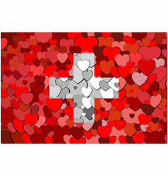 Switzerland flag made of hearts background vector