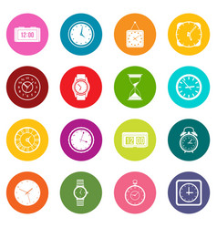 time and clock icons many colors set vector image