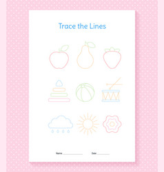 Trace lines worksheet educational practice vector