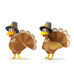 turkey in pilgrim hat happy thanksgiving holiday vector image