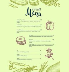 vegan restaurant menu identity typographic design vector image