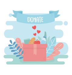 Volunteering help charity donate food water in vector