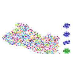 welcome composition of mosaic map of el salvador vector image