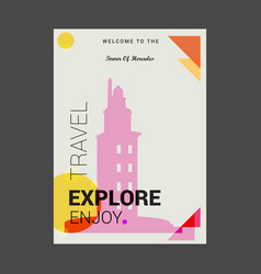 Welcome to the tower of hercules a corua spain vector