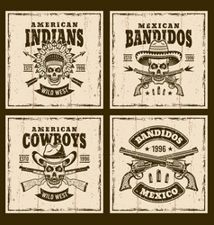 western set of four brown emblems vector image