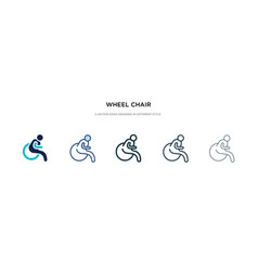 Wheel chair icon in different style two colored vector