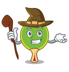 Witch ping pong racket mascot cartoon vector