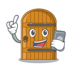 With phone cartoon wooden door massive closed gate vector