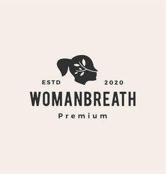 woman breath hipster vintage logo icon vector image