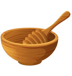 Wooden bowl and honey stick vector